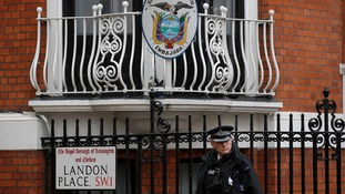 A police officer guarding the embassy in August