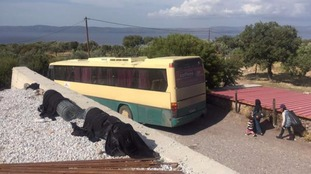 A bus takes those less able to make the 17km journey to the camps on foot.