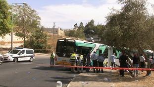 The scene of a bus stabbing in Jerusalem.