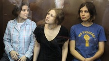Pussy Riot members listen to the judge&#x27;s guilty verdict