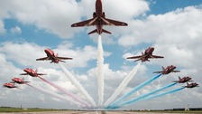 The Red Arrows, which are based at RAF Scampton