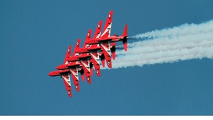 The Red Arrows in the sky