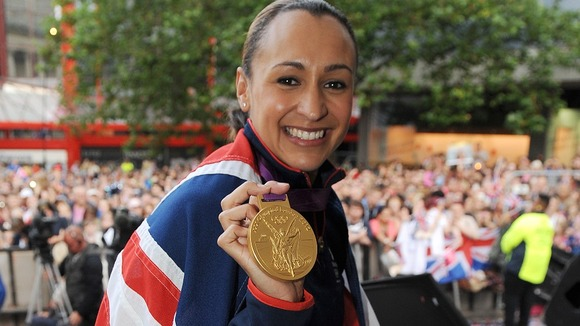 Jessica Ennis poses with her gold medal in Sheffield