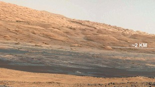 View from the rover's landing site towards the lower reaches of Mount Sharp