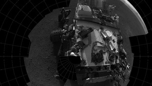 Self-portrait of the Curiosity rover's deck taken from its navigation camera