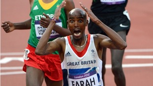 Great Britain's Mo Farah wins the Men's 5000m Olympic final.
