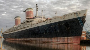 The SS United States seen across from her Philadelphia pier