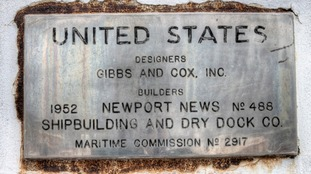 The builder's plate seen on the SS United States
