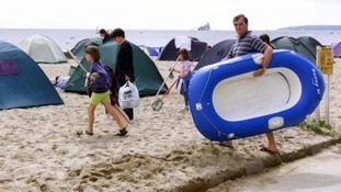 Inflatable dinghy warning on Norfolk coast