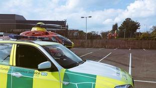 The motorcyclist has been taken to the Queen Elizabeth Hospital.