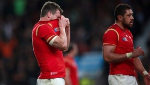 The Welsh captain shows his emotions at the final whistle.