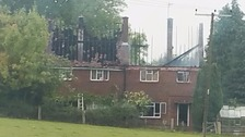 The damaged homes at Offley, near Hitchin.