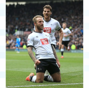 Derby County's Johnny Russell celebrates the fourth goal against Wolverhampton Wanderers