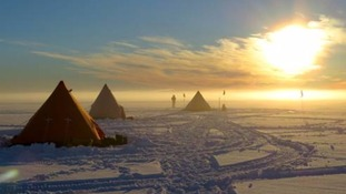 Camp in midnight sun