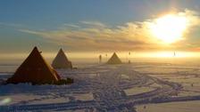Camp in midnight sun