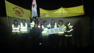 The protesters are urging others to join them outside the nuclear power plant