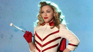 Madonna performs at Murrayfield Stadium in Edinburgh, Scotland.