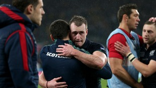 Scotland's Stuart Hogg is left dejected after the final whistle