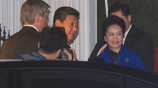 President of China Xi Jinping and his wife Peng Liyuan arrive at the Mandarin Oriental Hotel,