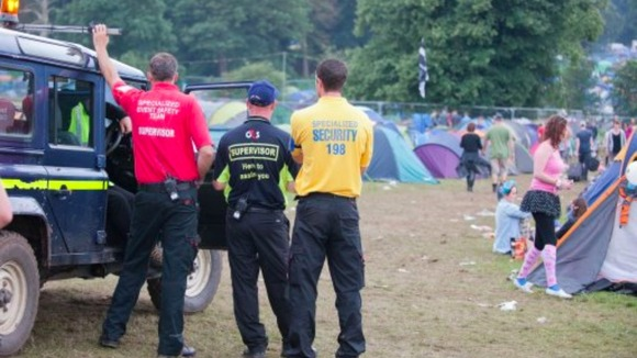 Security staff on duty at V festival