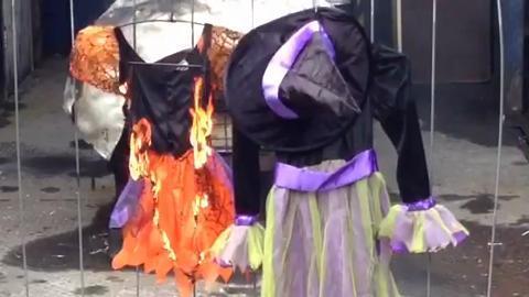 Halloween costume fire