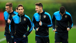 Arsenal's Mesut Ozil (centre) during the training session at London Colney Training Ground, Hertfordshire