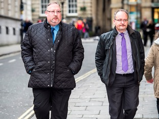 Nigel Barnett (left) arrives at Bristol Crown Court with Daniel Perkins