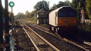 The derailed train at Wymondham