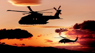 Stunning snaps: Royal Navy helicopters soar over California