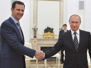 Vladimir Putin and Bashar al-Assad meet for talks in Moscow.