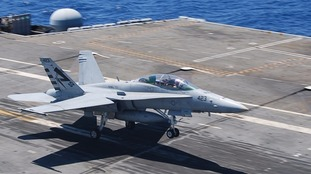 A F-18 Hornet, similar to the one reportedly crashed in Suffolk
