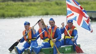 Competitors dressed as Thunderbirds take part in the annual Arundel Bathtub Race, Arundel, West Sussex.