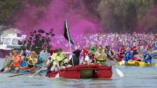 Competitors take part in the annual Arundel Bathtub Race, Arundel, West Sussex.