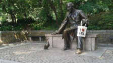 The winning entry at the Hans Christian Andersen statue in New York's Central Park.