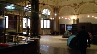 Squatters set up camp inside the former Stock Exchange building.