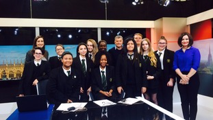 Students from St Thomas more in Bedford with ITV News Anglia's Amanda Houston, Sascha Williams and Jonathan Wills