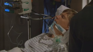 Robert Sugden in his hospital bed