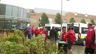 The veterans arrive at the Norfolk and Norwich University Hospital on Wednesday.