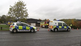Emergency services at the scene of the fire in Corby.