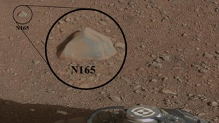 Image taken before the test shows the rock chosen as the first target by NASA