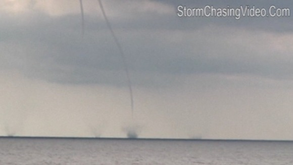 Five out of the nine waterspouts were filmed