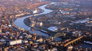 Aerial view of Newcastle and Gateshead