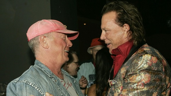 Actor Mickey Rourke talks with Tony Scott