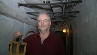Peterborough Museum's interpretation manager Stuart Orme in one of the vaults