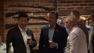 Mr Xi and Cameron mixing with patrons at the The Plough.