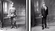 (l) Sergeant Howard, a cavalryman in WW1; (r) Gunner Mark Stonelake from Torpoint, who lost his leg in a bombing in Afghanistan in 2008.