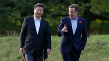 Prime Minister David Cameron with Chinese President Xi Jinping yesterday