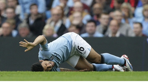 Manchester City striker Sergio Aguero was injured against Southampton.
