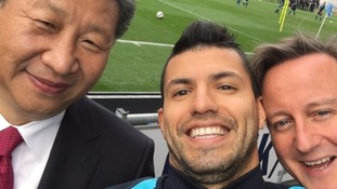 China's president poses for selfie with City's Aguero