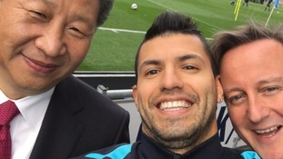 The president posed for a selfie at the Manchester City stadium.